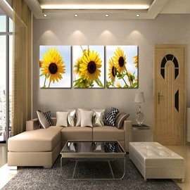 Country Style Sunflowers Pattern 3 Panels Framed Wall Art Prints