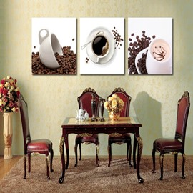 Simple Style White Coffee Mugs Pattern Design 3 Panels Framed Wall Art Prints