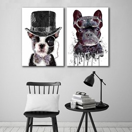 Amusing Cute Cat and Dog Pattern 2 Pieces Framed Wall Art Prints