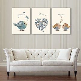Simple Style Birds Pattern Design 3 Pieces Framed Wall Art Prints