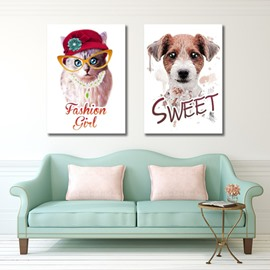 Cute Fashion Cat and Sweet Dog Pattern Framed Canvas Wall Art Prints