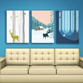 European Style Deer in Forest Winter Scenery 3 Panels Framed Wall Art Prints