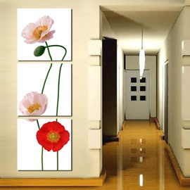 Flowers on White Background 3-Piece Fabric Hanging Framed Wall Prints
