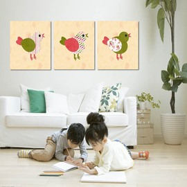 Cute Chicks Pattern Design 3 Panels None Framed Home Decorative Wall Art Prints