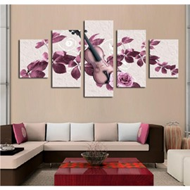 Purple Flowers and Guitar 5-Panel Canvas Hung Non-framed Wall Prints