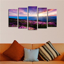 Sunrise and Floral Mountain 5-Panel Canvas Hung Non-framed Wall Prints