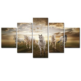 White Running Horse 5-Panel Canvas Hung Non-framed Wall Prints