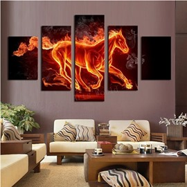 Yellow Running Horse 5-piece Canvas Hung Non-framed Wall Prints