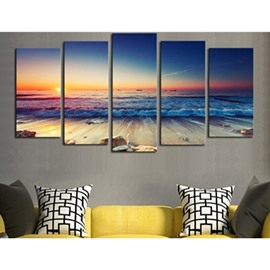 Sunrise on the Seaside 5-Panel Canvas Hung Non-framed Wall Prints