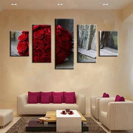 A Bunch of Red Roses 5-Piece Canvas Non-framed Wall Prints