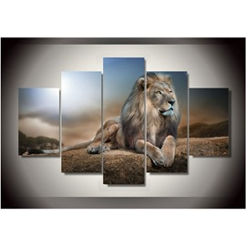 Sitting Lonely Lion 5-Piece Hanging Canvas Waterproof and Eco-friendly Non-framed Wall Prints