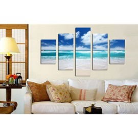 Green Sea and Blue Sky 5-Piece Canvas Hung Non-framed Wall Prints