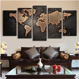 World Map 5-Piece Canvas Hung Non-framed Wall Prints