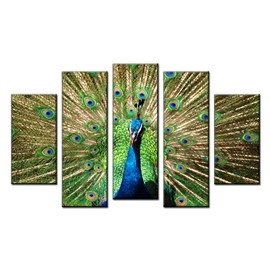 Green Peacock Hanging 5-Piece Canvas Non-framed Wall Prints