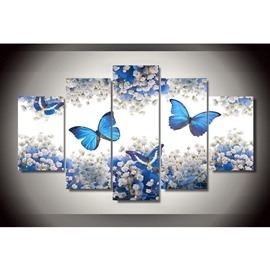 Blue Butterflies and White Flowers Hanging 5-Piece Canvas Non-framed Wall Prints
