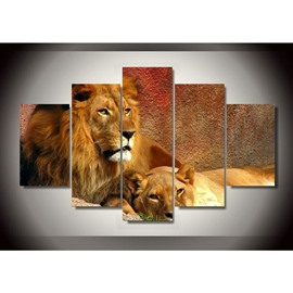 Brown Lion and Smilodon Hanging 5-Piece Canvas Non-framed Wall Prints