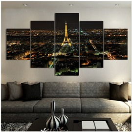Golden Standing Tower and City Night 5-Piece Canvas Non-framed Wall Prints