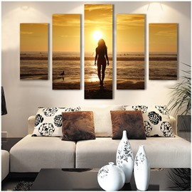 Yellow Sunrise Beach and Girl Hanging 5-Piece Canvas Non-framed Wall Prints