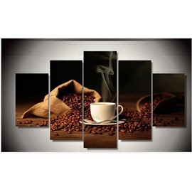 Brown Coffee with Heat Hanging 5-Piece Canvas Non-framed Wall Prints
