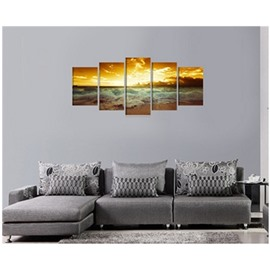 Yellow Sunrise on The Beach Hanging 5-Piece Canvas Non-framed Wall Prints