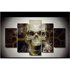 Skull Head with Smoke Canvas Waterproof and Eco-friendly Hanging 5-Piece Non-framed Wall Prints