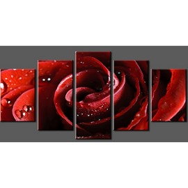 Red Rose with Droplets Hanging 5-Piece Canvas Non-framed Wall Prints