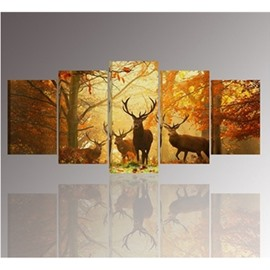 Yellow Walking Deer and Forest 5-Piece Canvas Non-framed Wall Prints