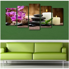 Purple Phalaenopsis Stones and Candles Hanging 5-Piece Canvas Non-framed Prints