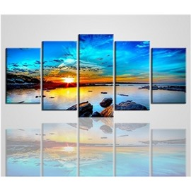 Blue Sky and Sea Sunrise Hanging 5-Piece Canvas Non-framed Wall Prints