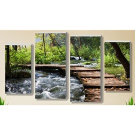 Green Forest Wooden Path and Stream Hanging 4-Piece Canvas Waterproof Eco-friendly Non-framed Prints
