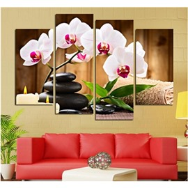 White Phalaenopsis and Black Stones 4-Piece Canvas Non-framed Wall Prints