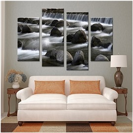 Waterfall and Stones Hanging 4-Piece Canvas Waterproof and Eco-friendly Non-framed Prints