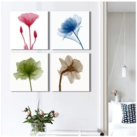 Four Flowers Hanging 4-Piece Canvas Non-framed Wall Prints