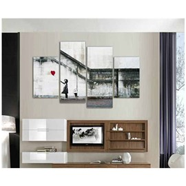 Girl and Balloon under Stairs Hanging 4-Piece Canvas Non-framed Wall Prints