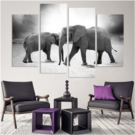 Elephants Hanging 4-Piece Canvas Waterproof and Environmental Black and White Non-framed Prints
