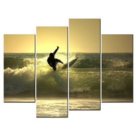 Surfing on The Sea Hanging 4-Piece Canvas Yellow Non-framed Wall Prints