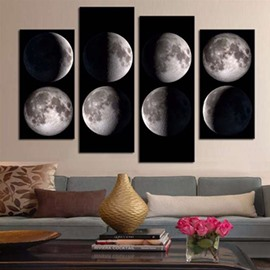 White Planets on Black Background Hanging 4-Piece Canvas Waterproof Eco-friendly Non-framed Prints