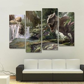 Dinosaur in Forest Hanging 4-Piece Canvas Waterproof and Eco-friendly Non-framed Prints