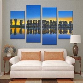 Trees and Lake in Blue Sky Hanging 4-Piece Canvas Waterproof Eco-friendly Non-framed Prints
