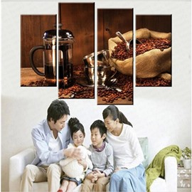 Brown Coffee Beans and Cup Hanging 4-Piece Canvas Waterproof and Eco-friendly Non-framed Prints