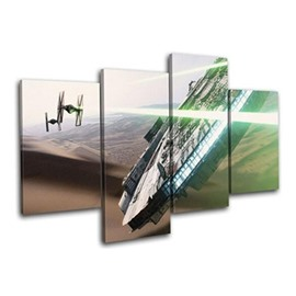 Brown Desert and UFO Hanging 4-Piece Canvas Waterproof and Eco-friendly Non-framed Prints