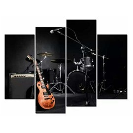 Drum and Guitar Hanging 4-Piece Canvas Waterproof and Eco-friendly Non-framed Prints