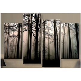 Forest in Fog Hanging 4-Piece Canvas Waterproof and Eco-friendly Non-framed Prints