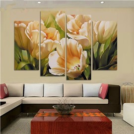 Yellow Tulips Hanging 4-Piece Canvas Non-framed Waterproof and Environmental Wall Prints