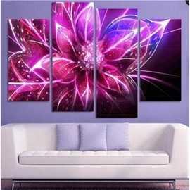 Purple Lighting Flower Hanging 4-Piece Canvas Non-framed Waterproof and Environmental Wall Prints