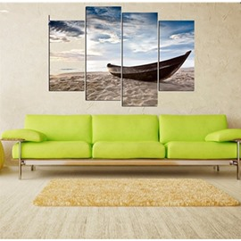 Boat on Beach Hanging 4-Piece Canvas Waterproof and Environmental Non-framed Prints