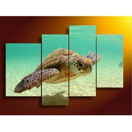 Turtle in The Sea Hanging 4-Piece Canvas Non-framed Wall Prints