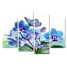 Blue Flowers and Butterflies Hanging 4-Piece Canvas Non-framed Waterproof and Environmental Wall Prints