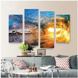 Yellow Sunrise and Sea Wave Hanging 4-Piece Canvas Waterproof and Eco-friendly Non-framed Prints