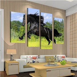 Black Horse Jumping on Green Grassland Hanging 4-Piece Canvas Waterproof Non-framed Prints